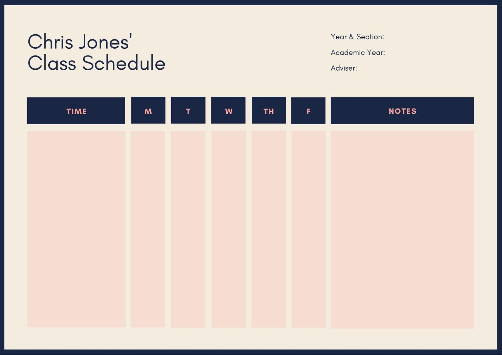 Dark Blue & Cream Bordered Class Schedule