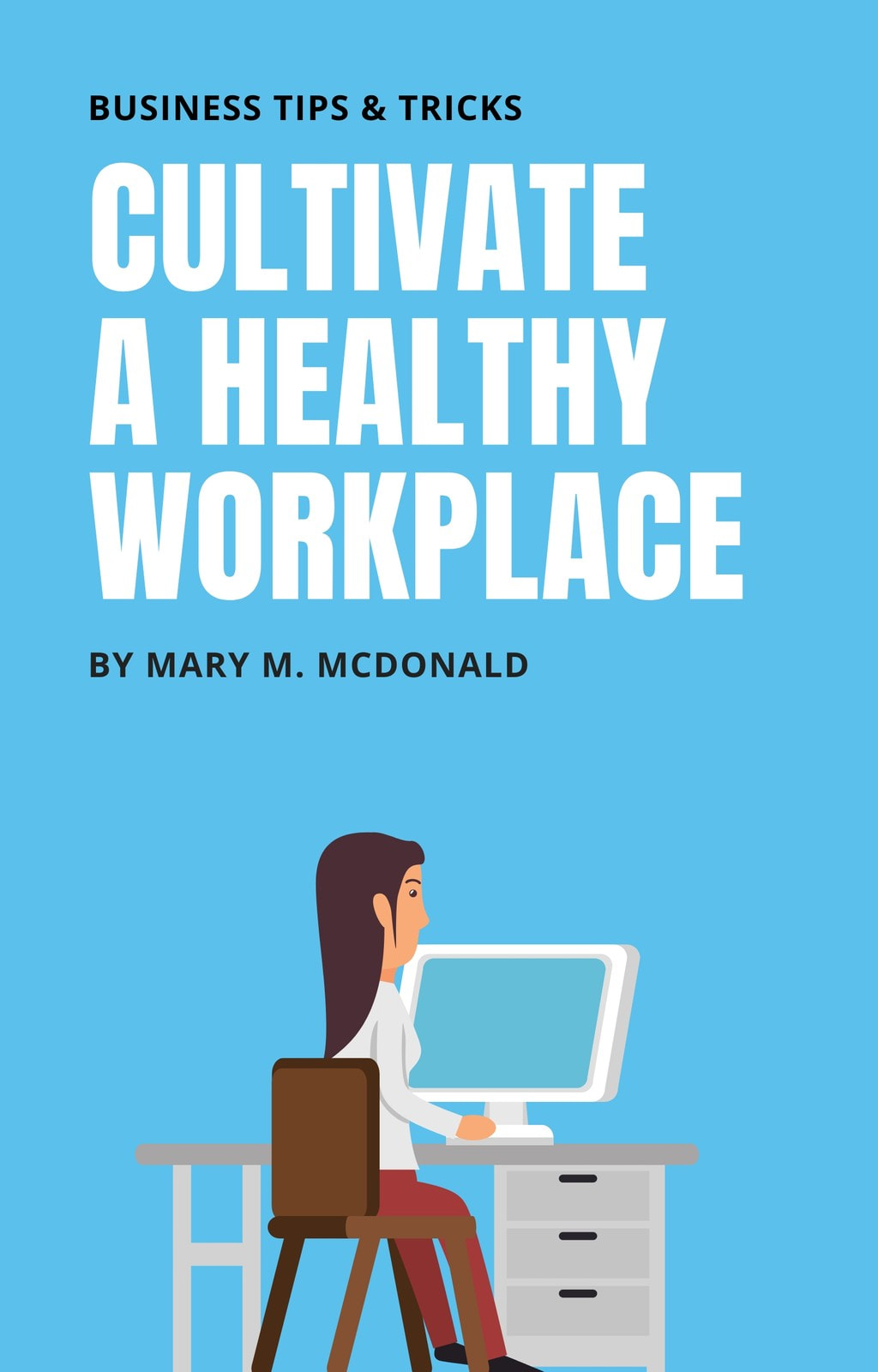 Blue Illustrated Office Workers Business Wattpad Book Cover