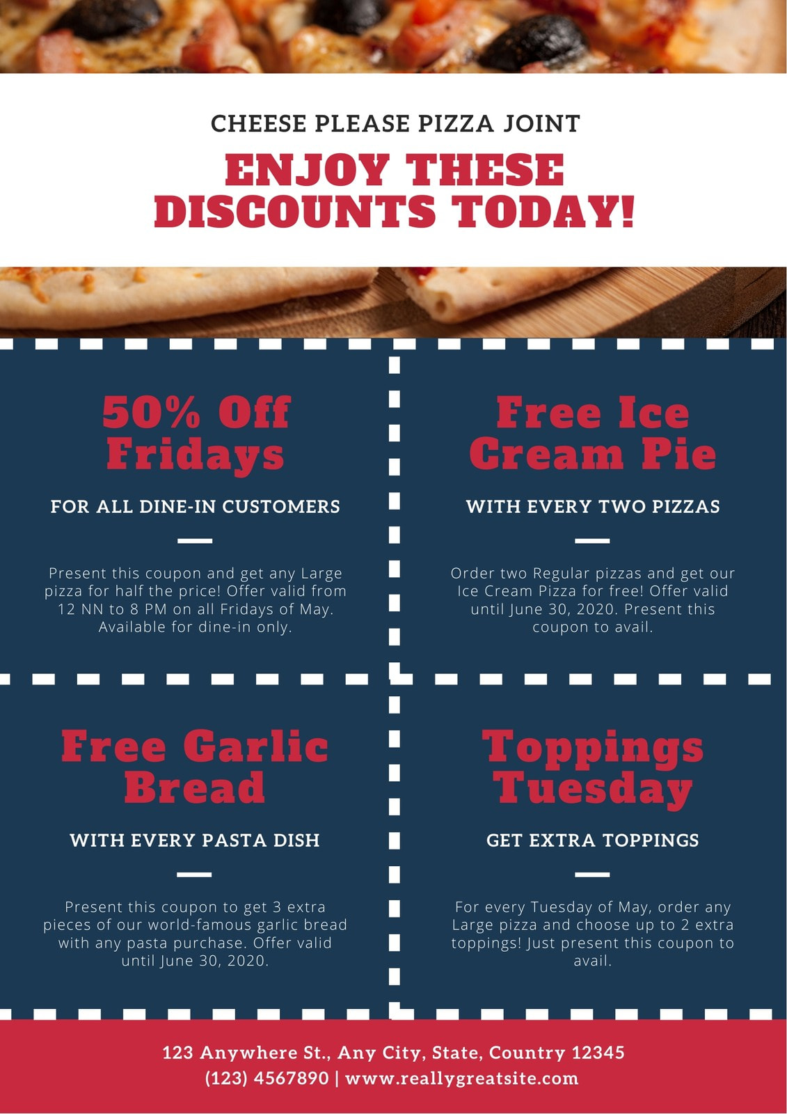 Blue and Red Dotted Pizza Coupon