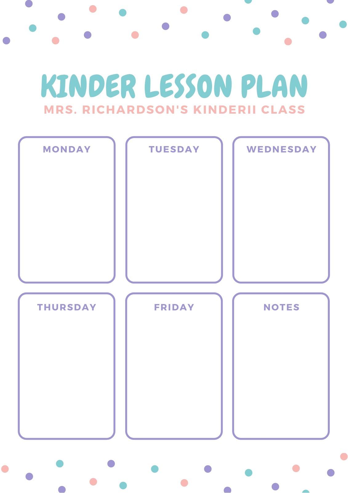 White Pastel Polka Dots Kindergarten Lesson Plan