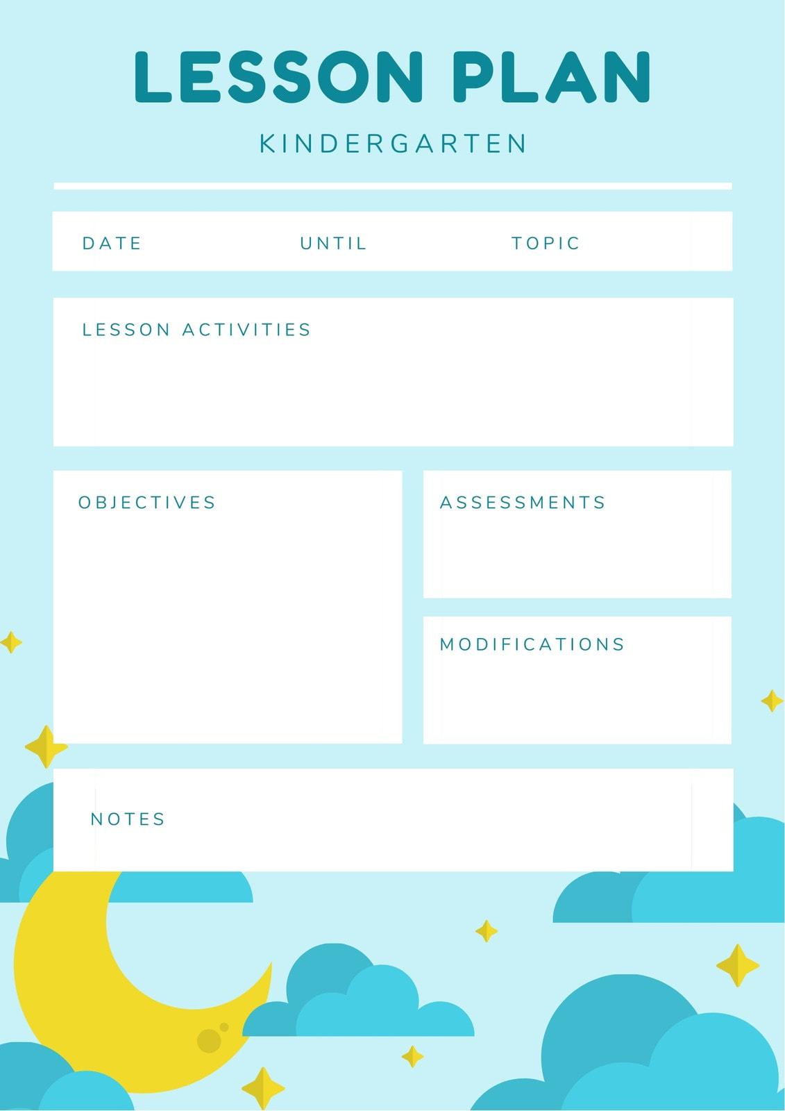 Light Blue Icon Kindergarten Lesson Plan