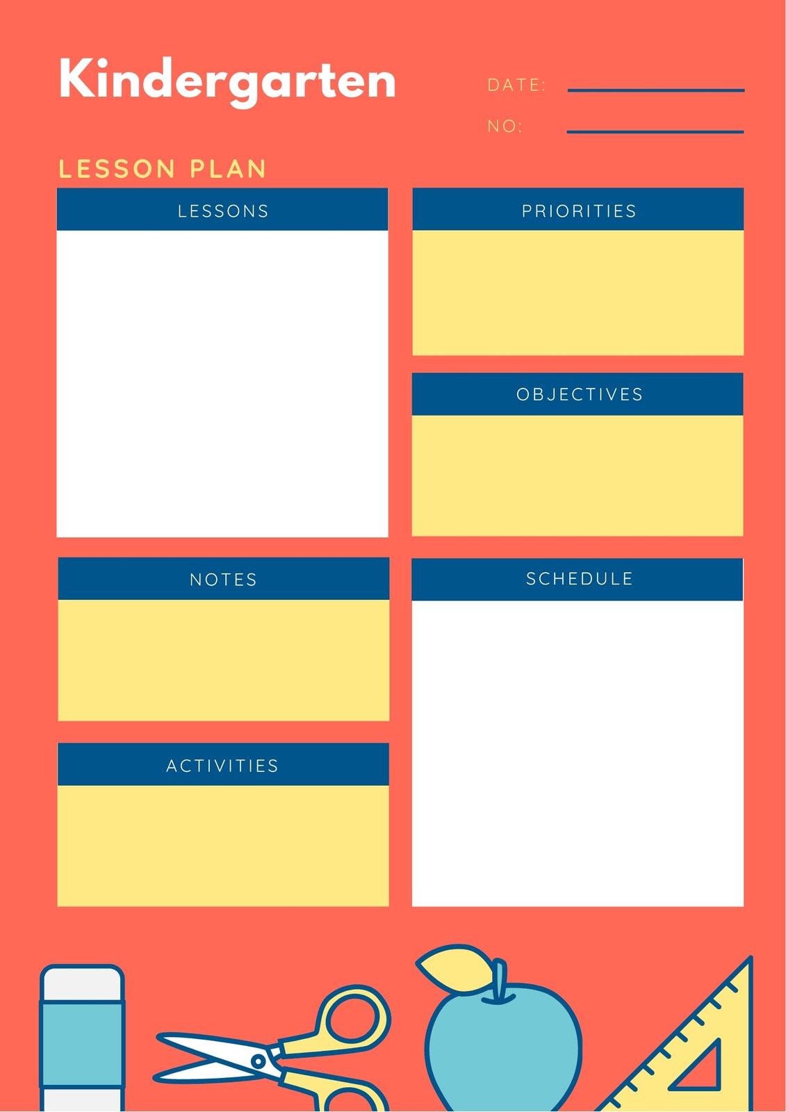 Orange Illustrated Kindergarten Lesson Plan
