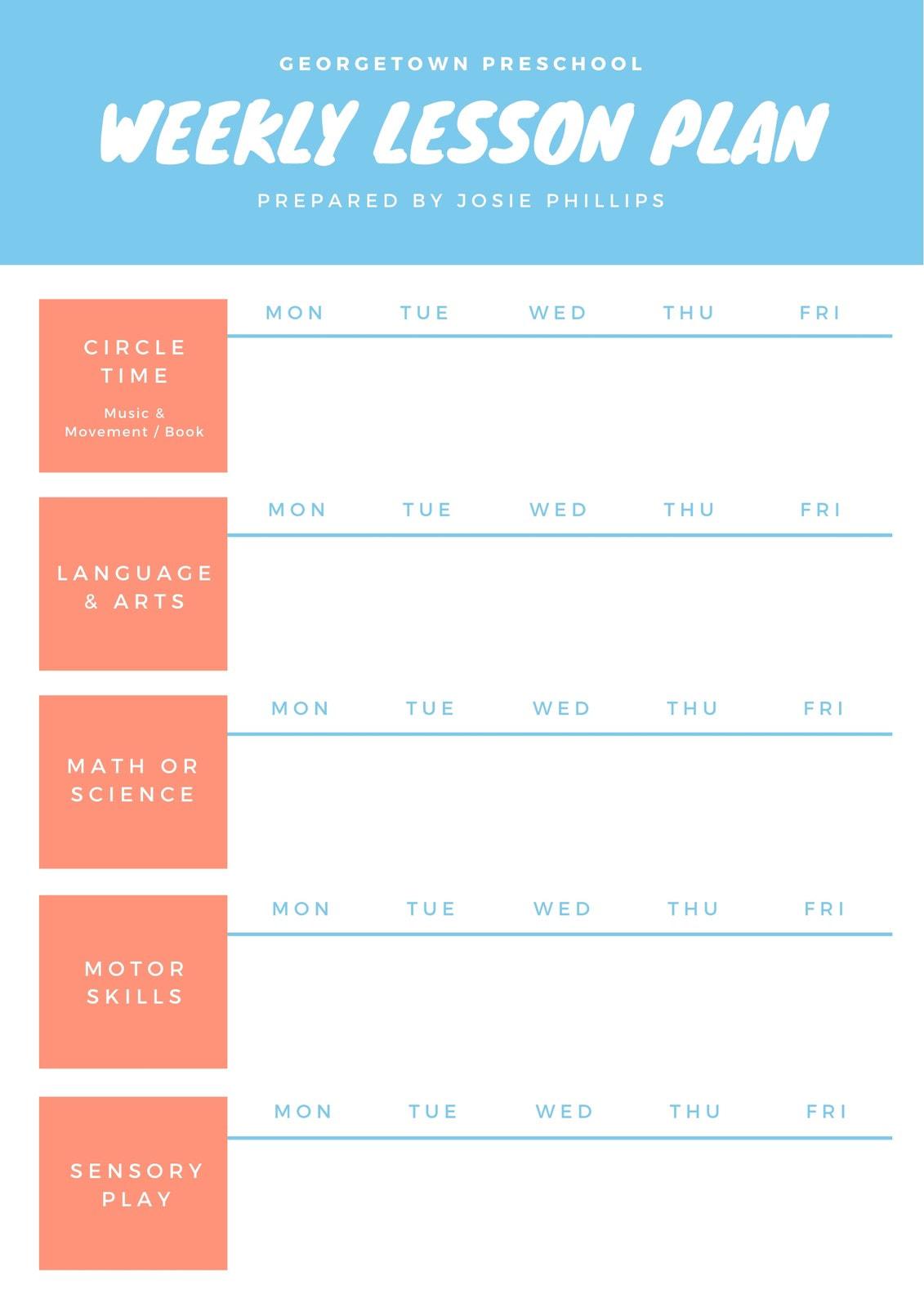 Blue & White Simple Kindergarten Lesson Plan