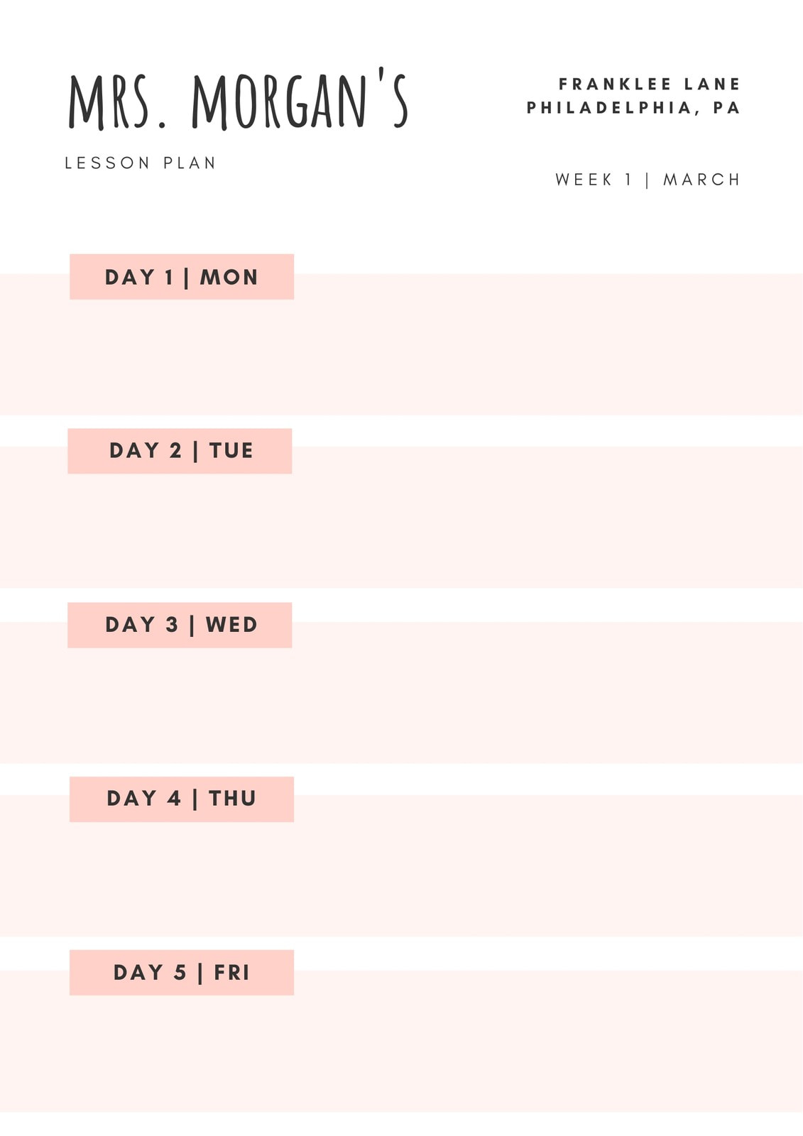 Light Pink Simple Kindergarten Lesson Plan