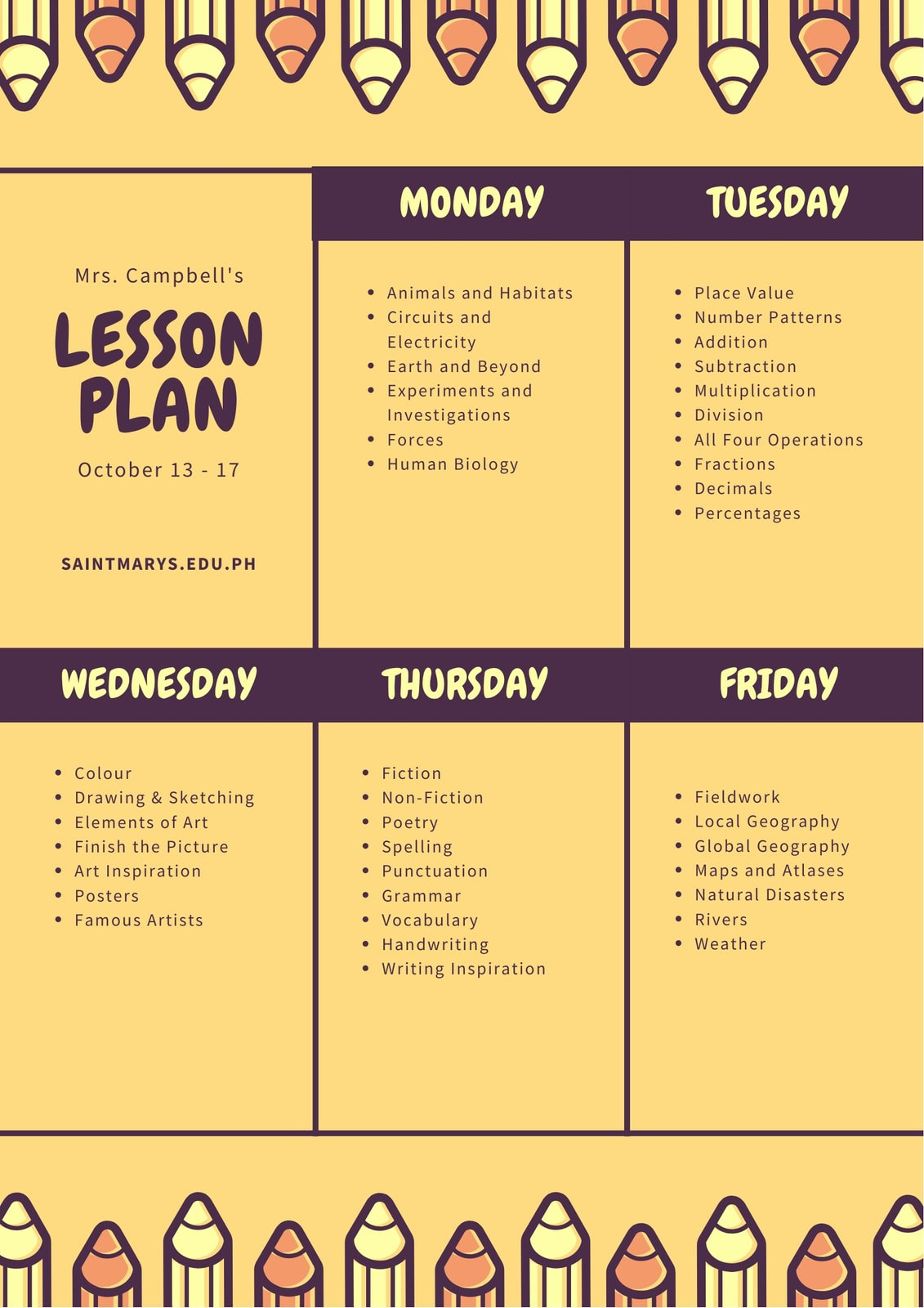 Yellow with Pencil Vectors Lesson Plan General Weekly Schedule