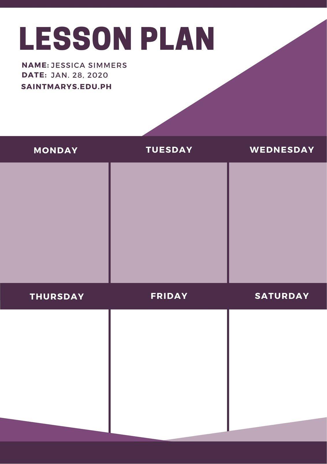 Violet Geometric Shapes English Lesson Plan