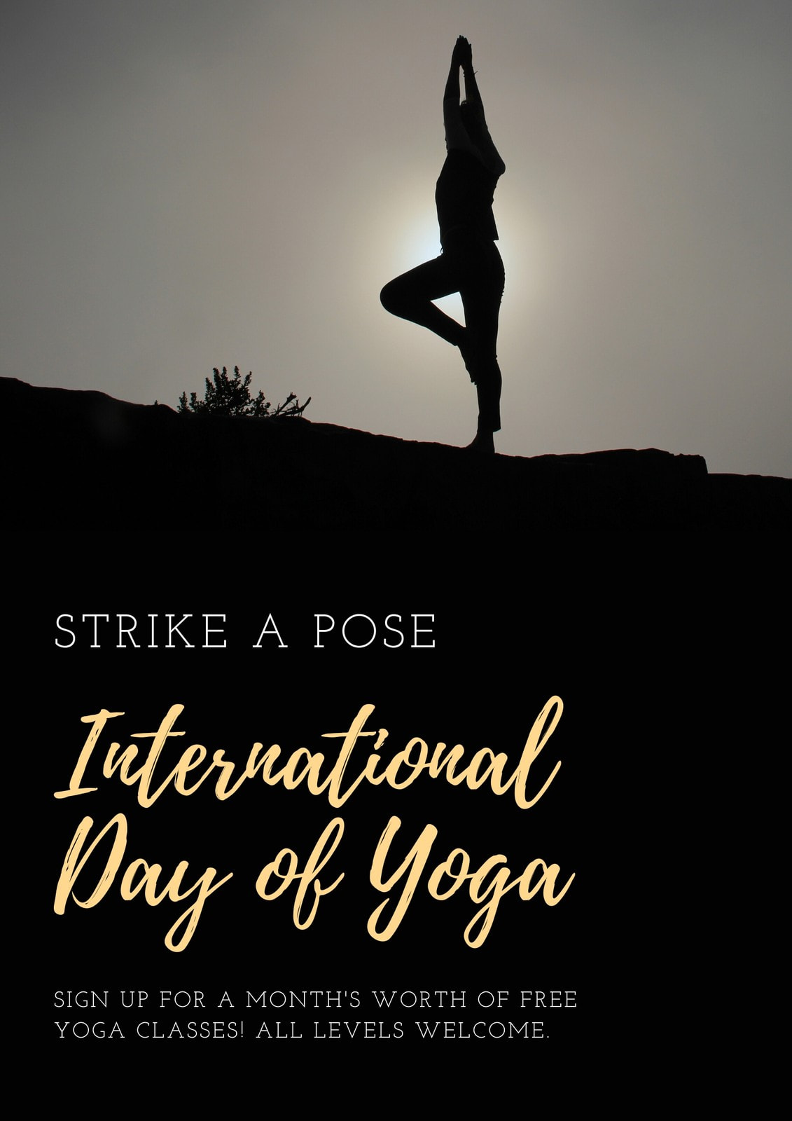 Black and White International Day of Yoga Poster