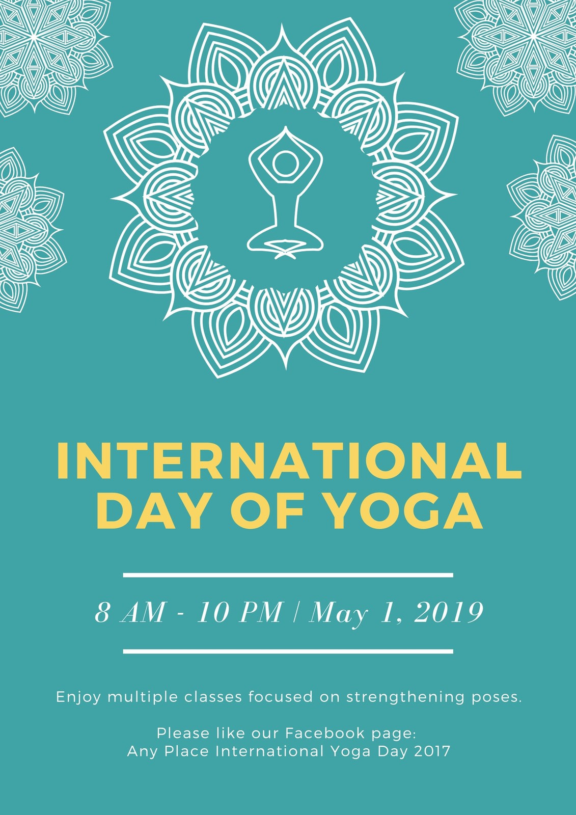 Green and White Ornate International Day of Yoga Poster