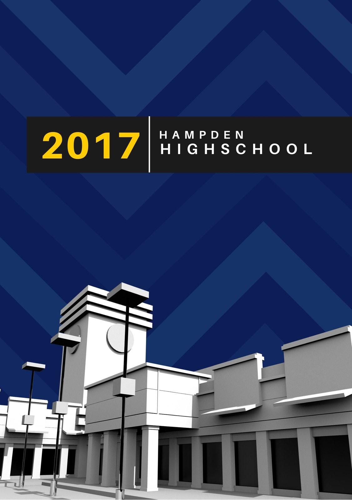 Blue Chevron Pattern High School Yearbook Theme