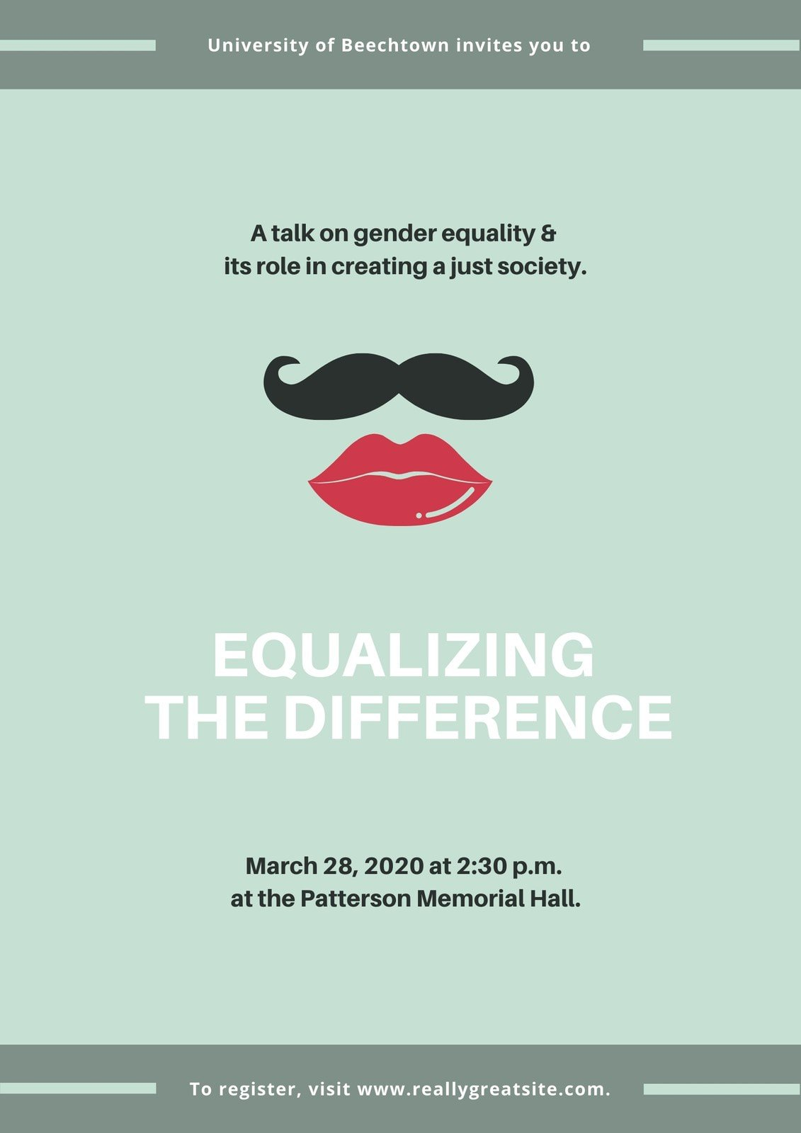 Green Mustache and Lips Gender Equality Poster