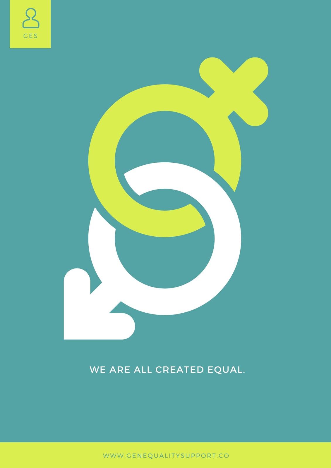 Aqua Symbol Gender Equality Poster