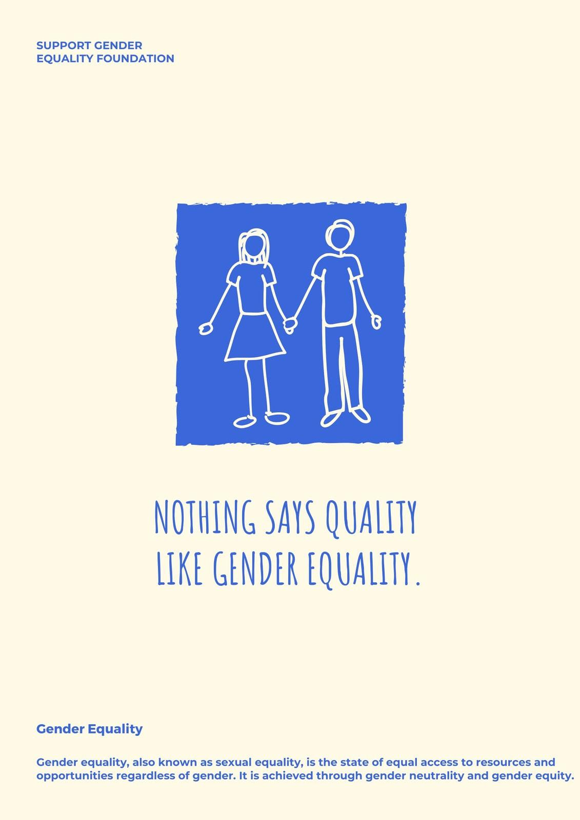 Cream Illustration Gender Equality Poster