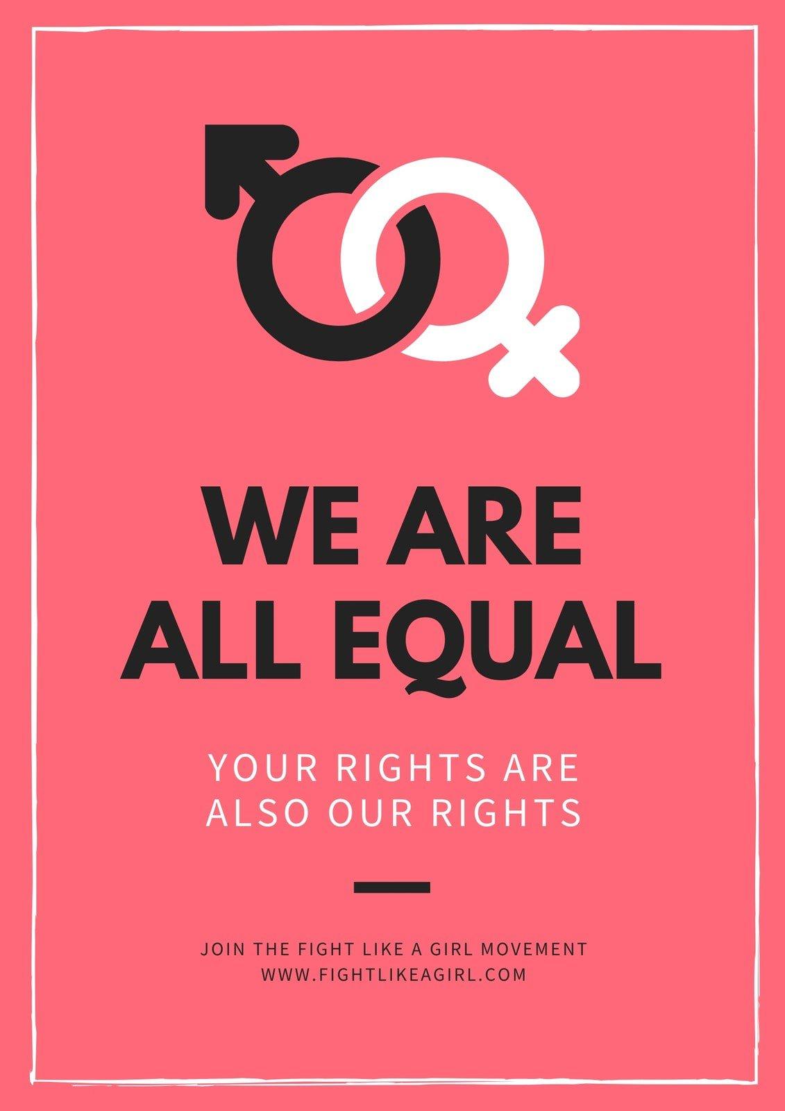 Pink Salmon Gender Icons Gender Equality Poster