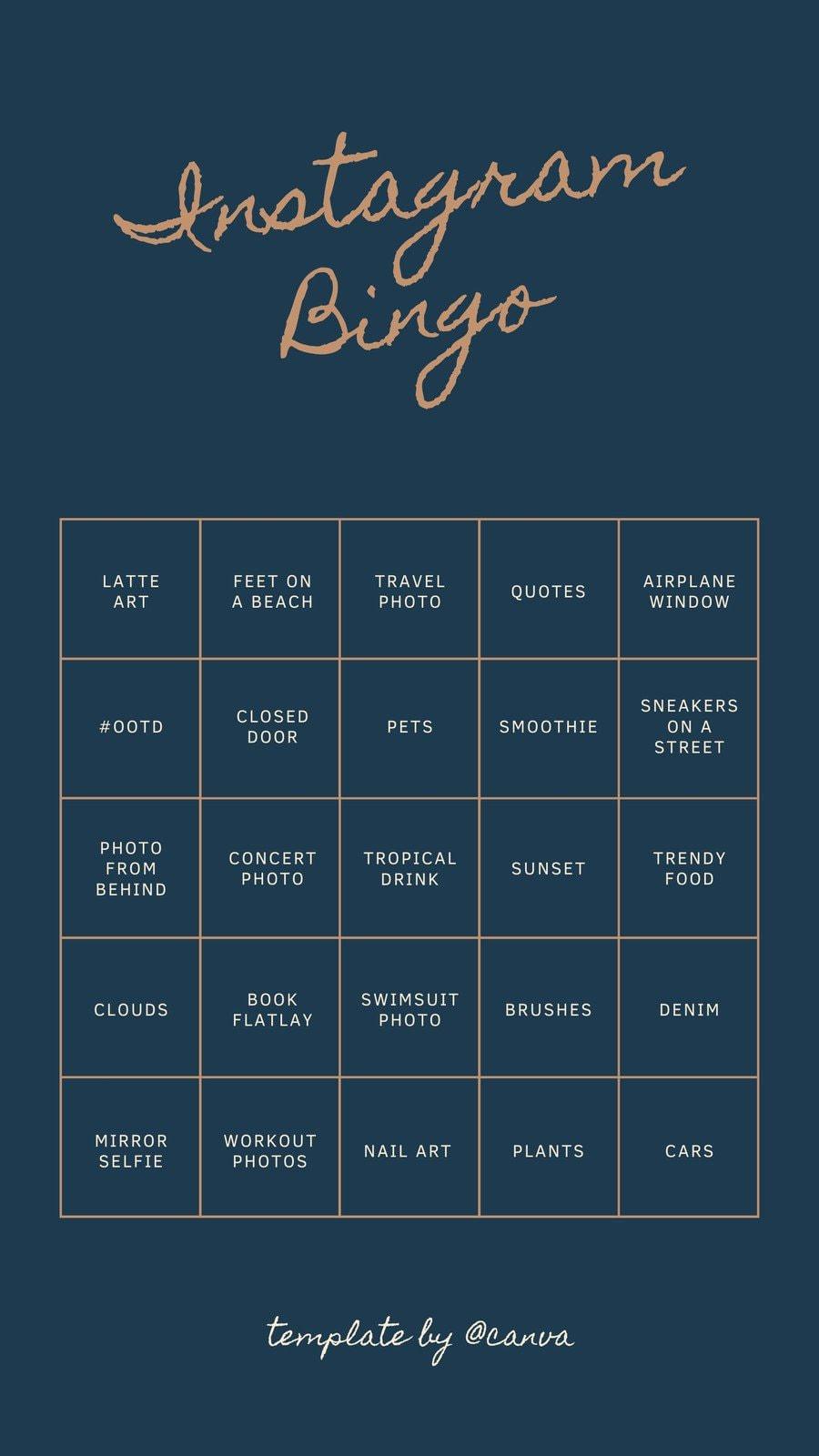 Brown and Blue Bingo Card