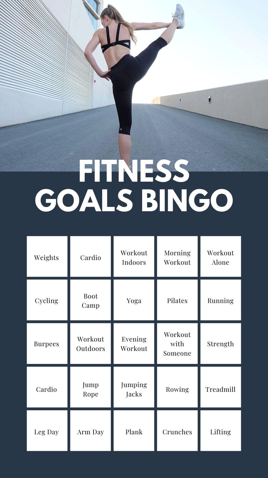 Gray Fitness Goals Bingo Interactive Instagram Story