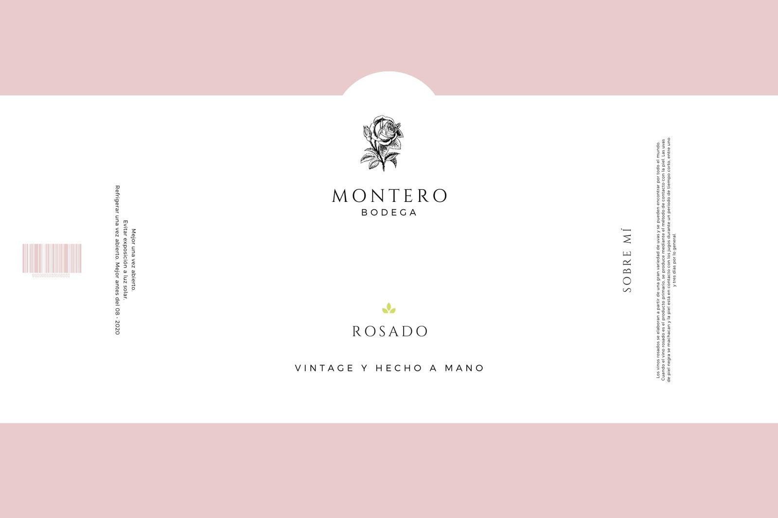 Rosa Claro Blanco Minimalista Sencillo Elegante Botella Vino Producto Etiqueta