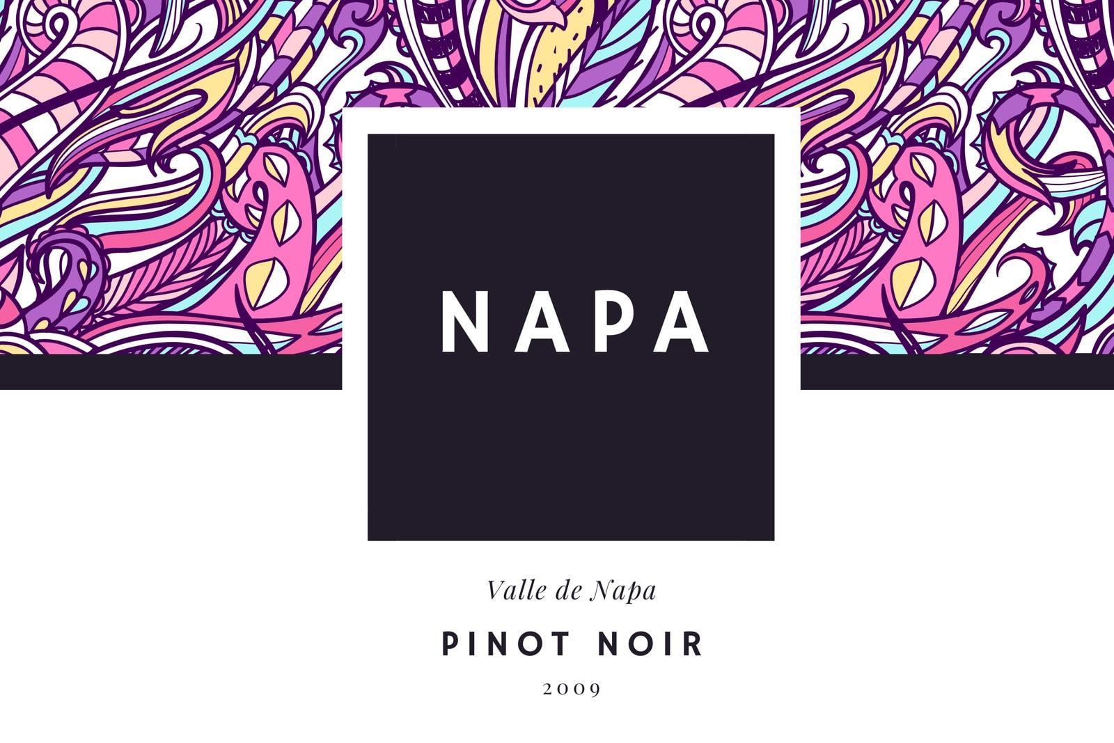 Morado Colorido Cachemir Modelo Impresión Vino Producto Etiqueta