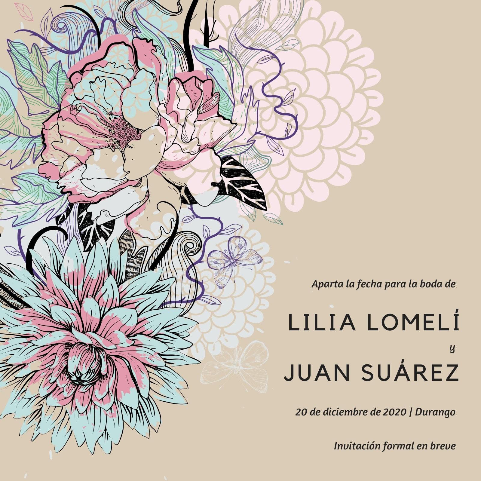 Floral Ilustración Aparta la Fecha Invitación