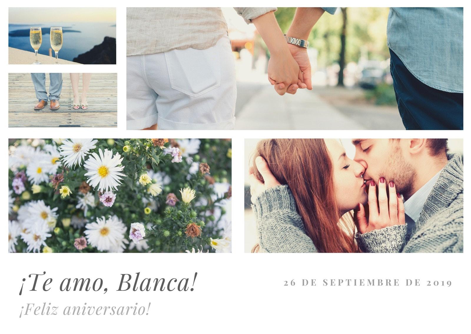 Collage de Fotos Aniversario Tarjeta