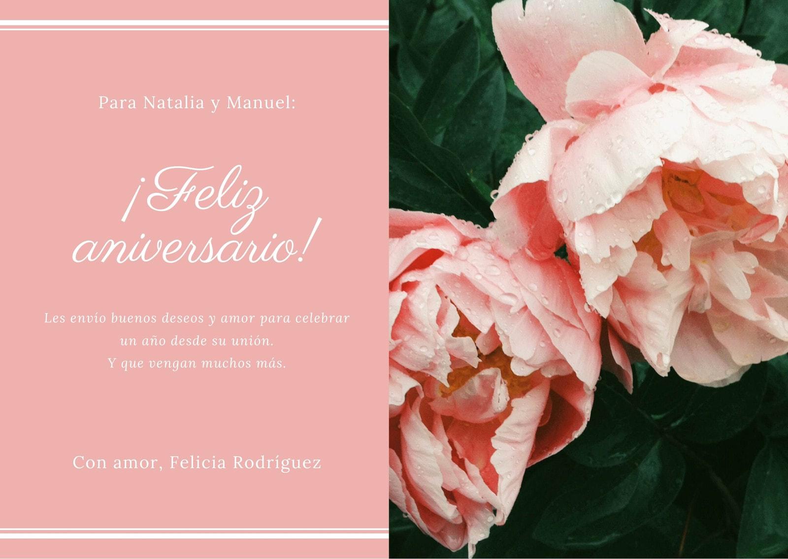 Rosa Rosado Foto Elegante Aniversario Tarjeta