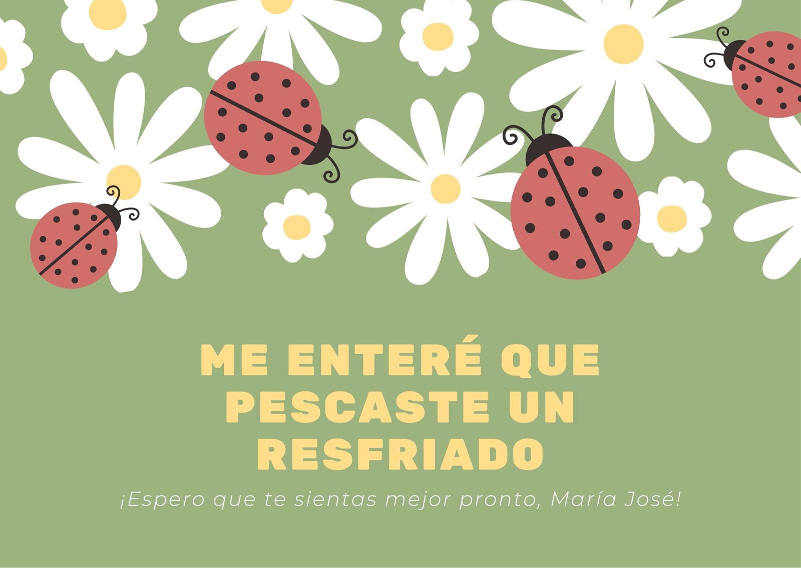 Verde Con Margaritas y Catarinas Mejórate Pronto Tarjeta