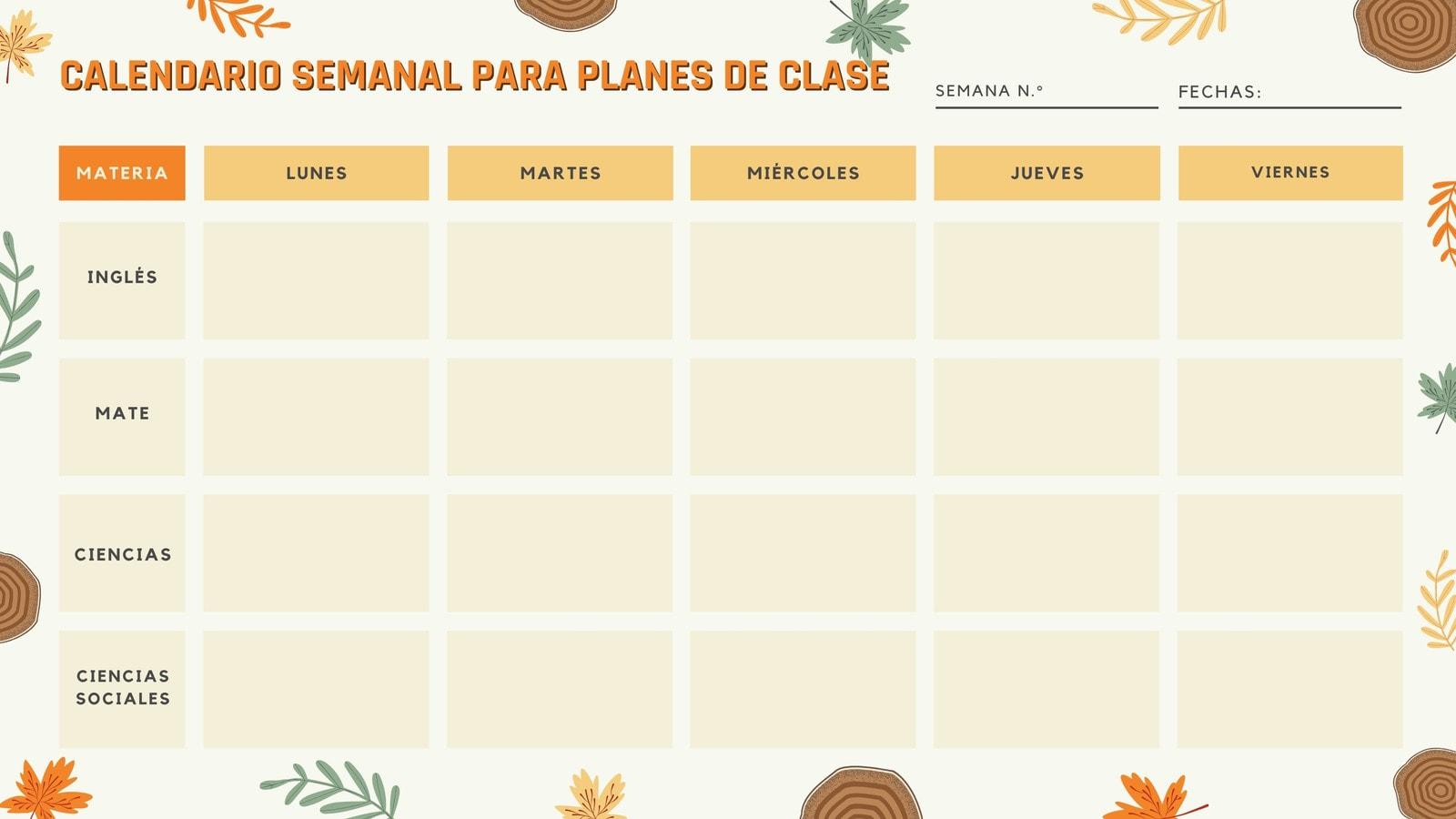 Acampar Calendario Semanal de Clases en Blanco