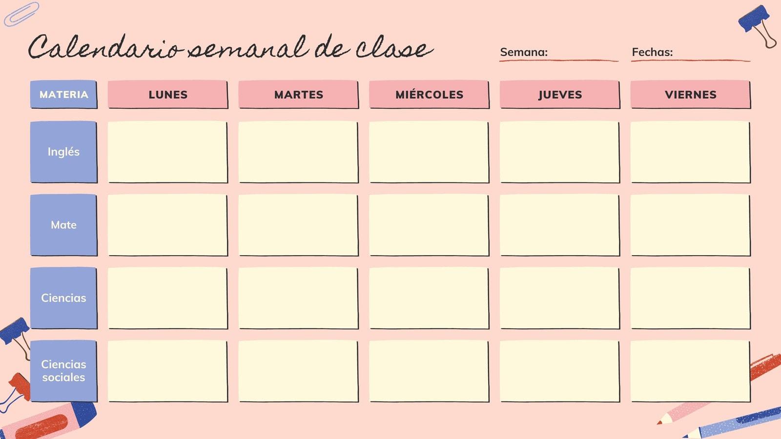 Rosa y Crema Ilustración Calendario Semanal de Clases en Blanco