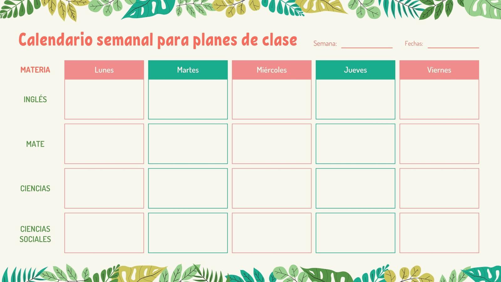 Aventura Calendario Semanal de Clases en Blanco