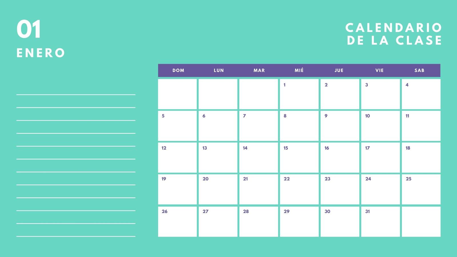 Turquesa y Púrpura Negrita Aula Calendario