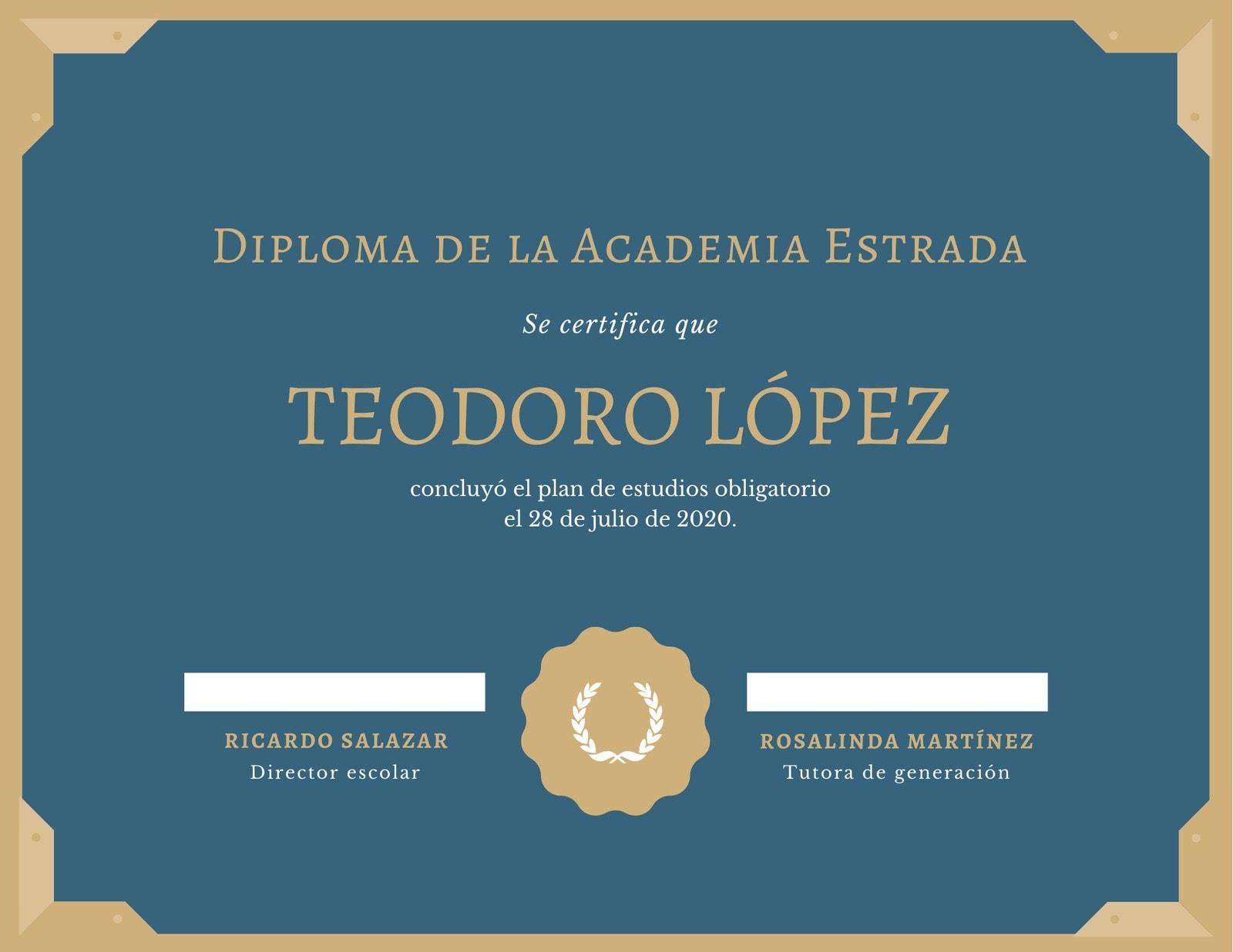 Turquesa y Goldenrod Diploma de Preparatoria Certificado