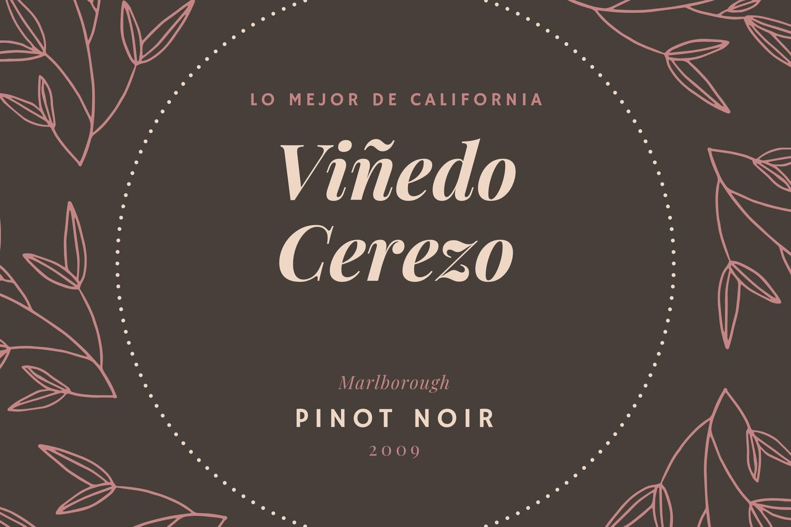 Marrón y Rosa Hojas Botella de Vino Etiqueta