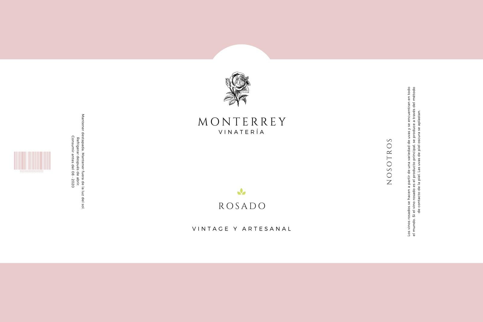 Rosa Claro y Blanco Minimalista Simple Elegante Botella de Vino Etiqueta