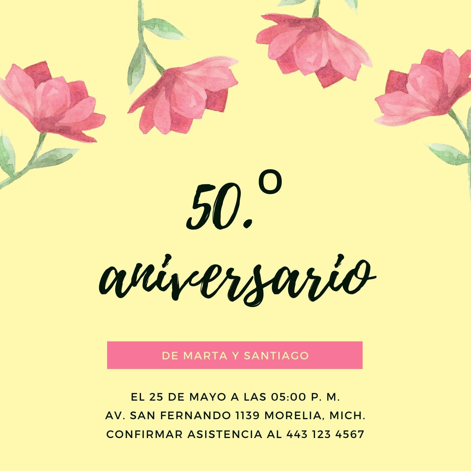 Amarillo Flores 50.º Aniversario Invitación