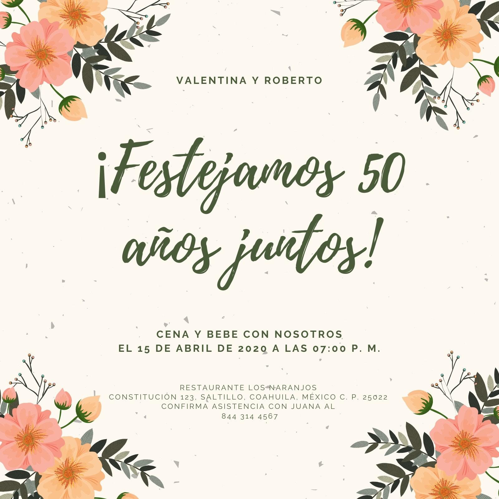 Crema Flores 50.º Aniversario Invitación