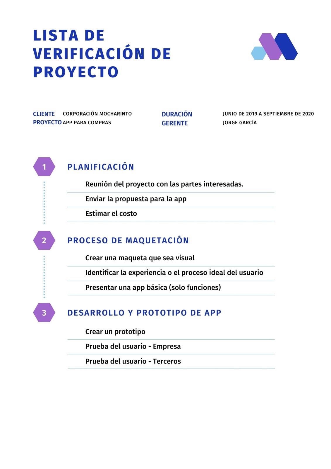 Azul y Violeta Casual Desarrollo de App Corporativa Empresa Emergente Lista de Verificación