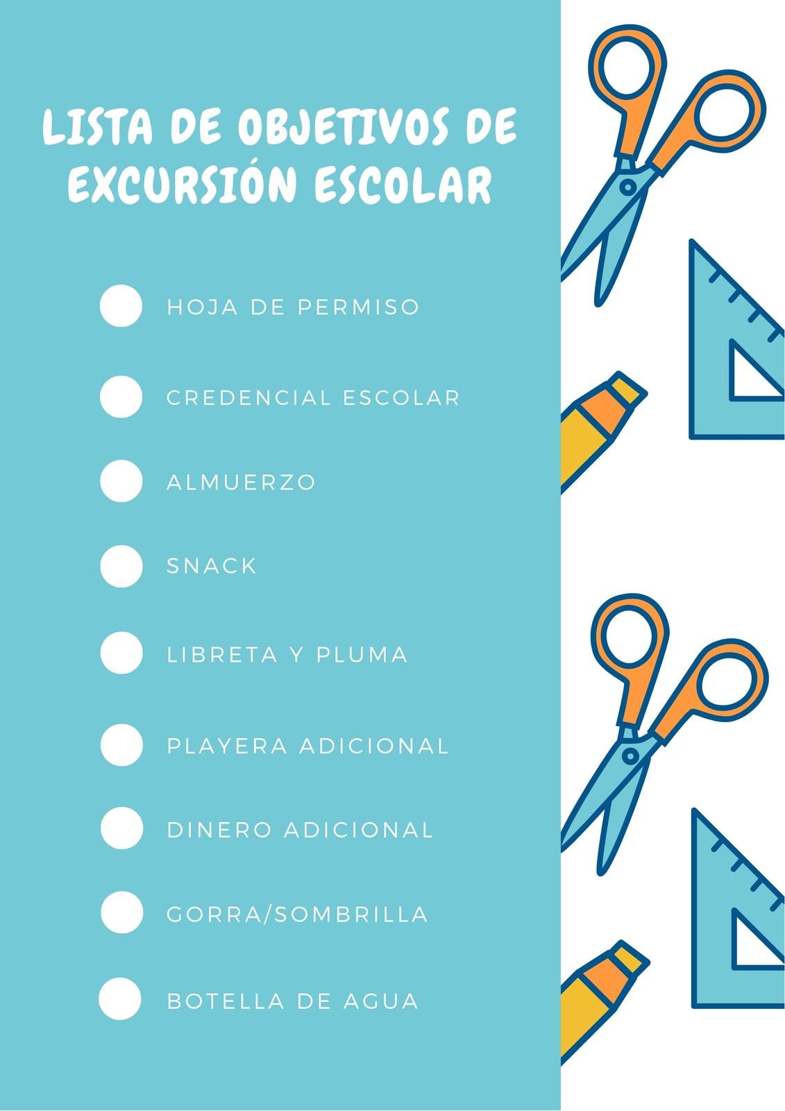 Azul y Naranja Escuela Lista de Verificación