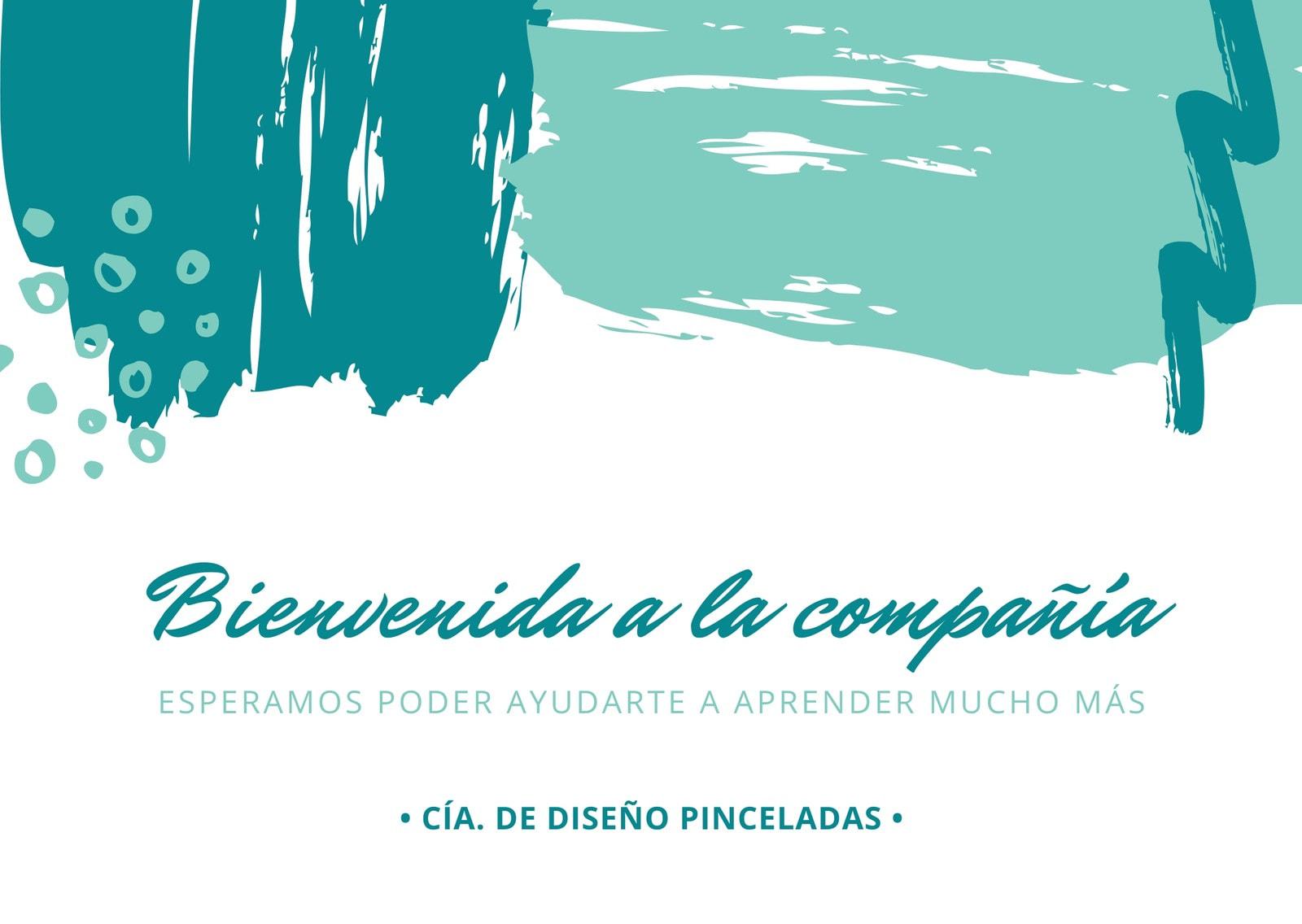 Blanco con Pinceladas Azules Bienvenida Tarjeta
