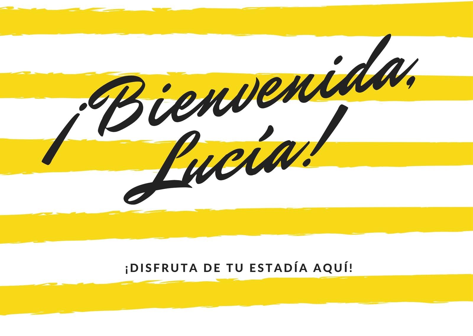 Amarillo y Negro Tarjeta de Bienvenida con Rayas