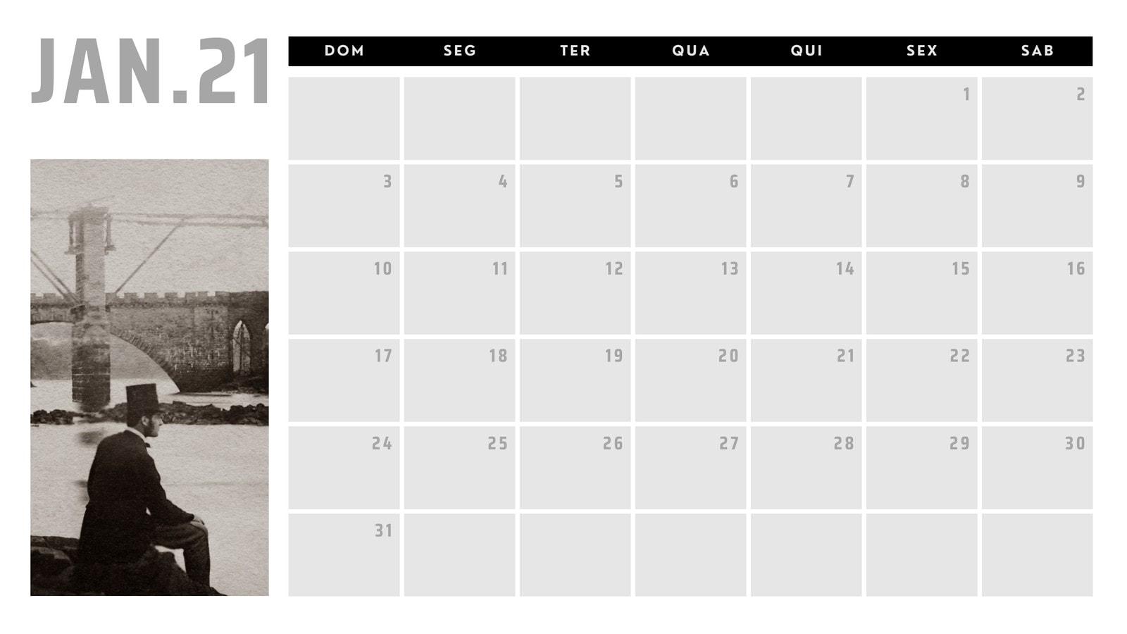 Calendário 2021 - fotos antigas preto e branco