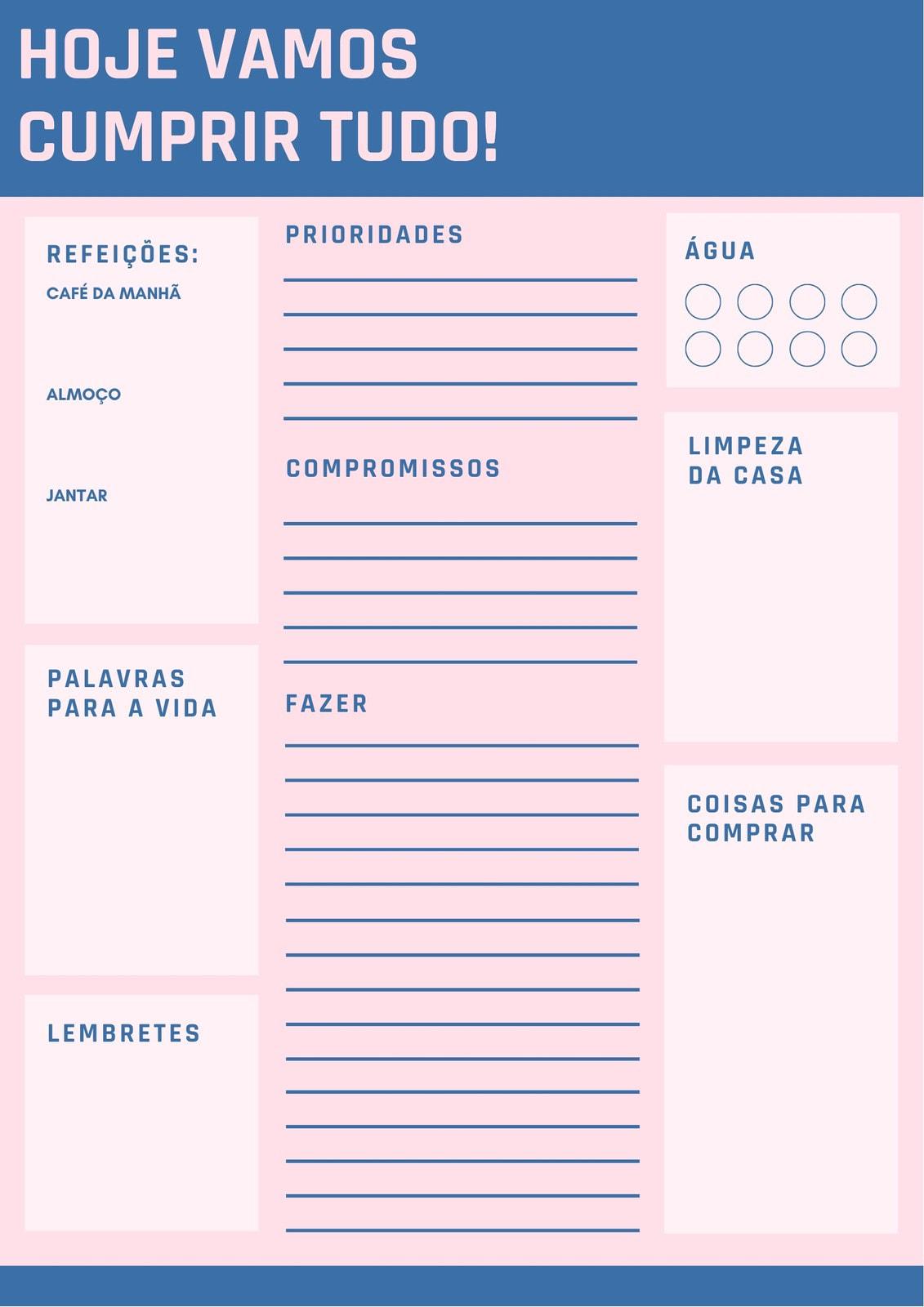 Rosa e Azul Simples Diário Planejador