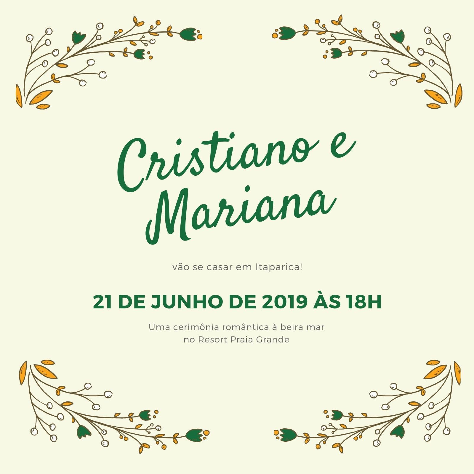 Amarelo e Verde Botânica Casamento Convite