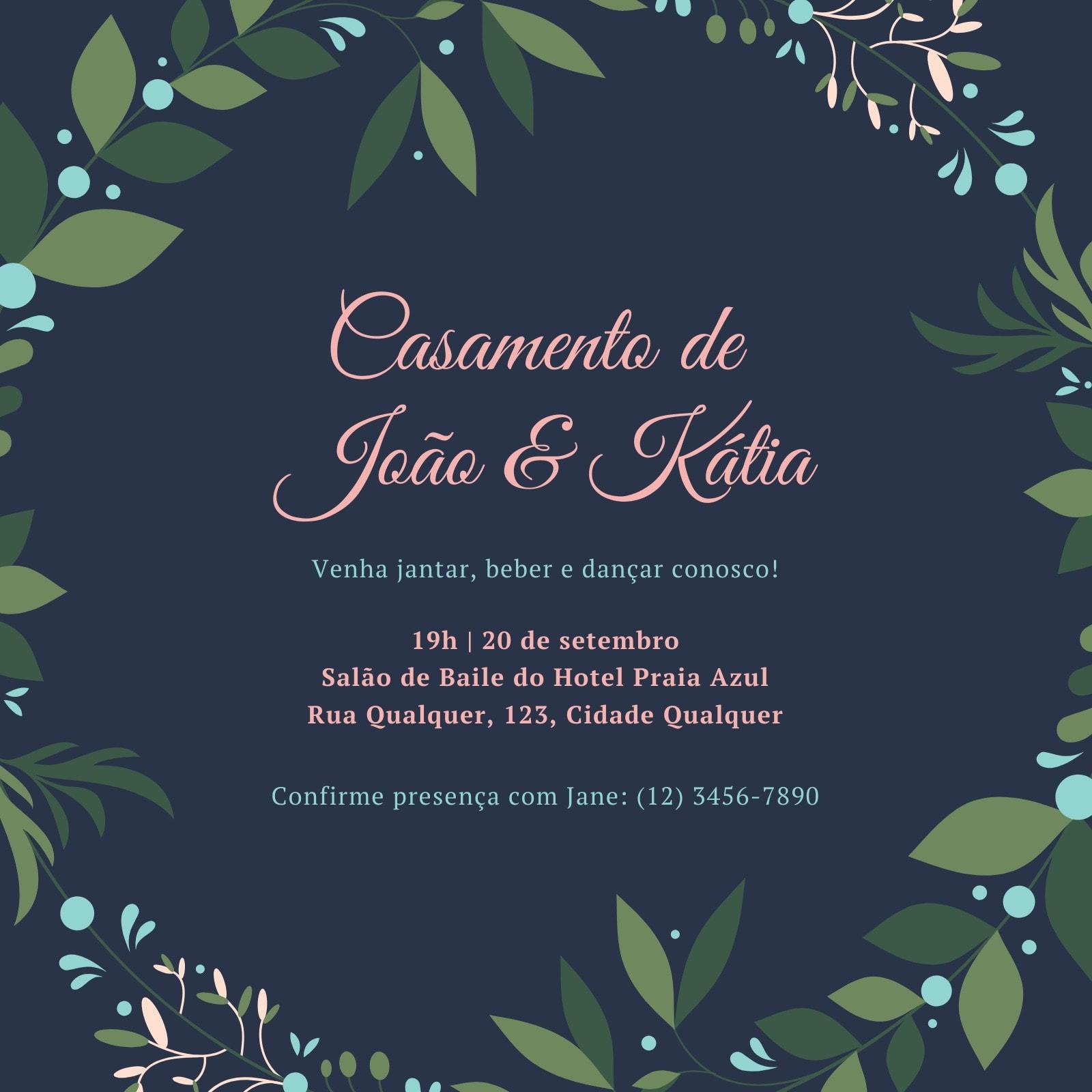 Azul e Rosa Guirlanda Recepção de Casamento Convite
