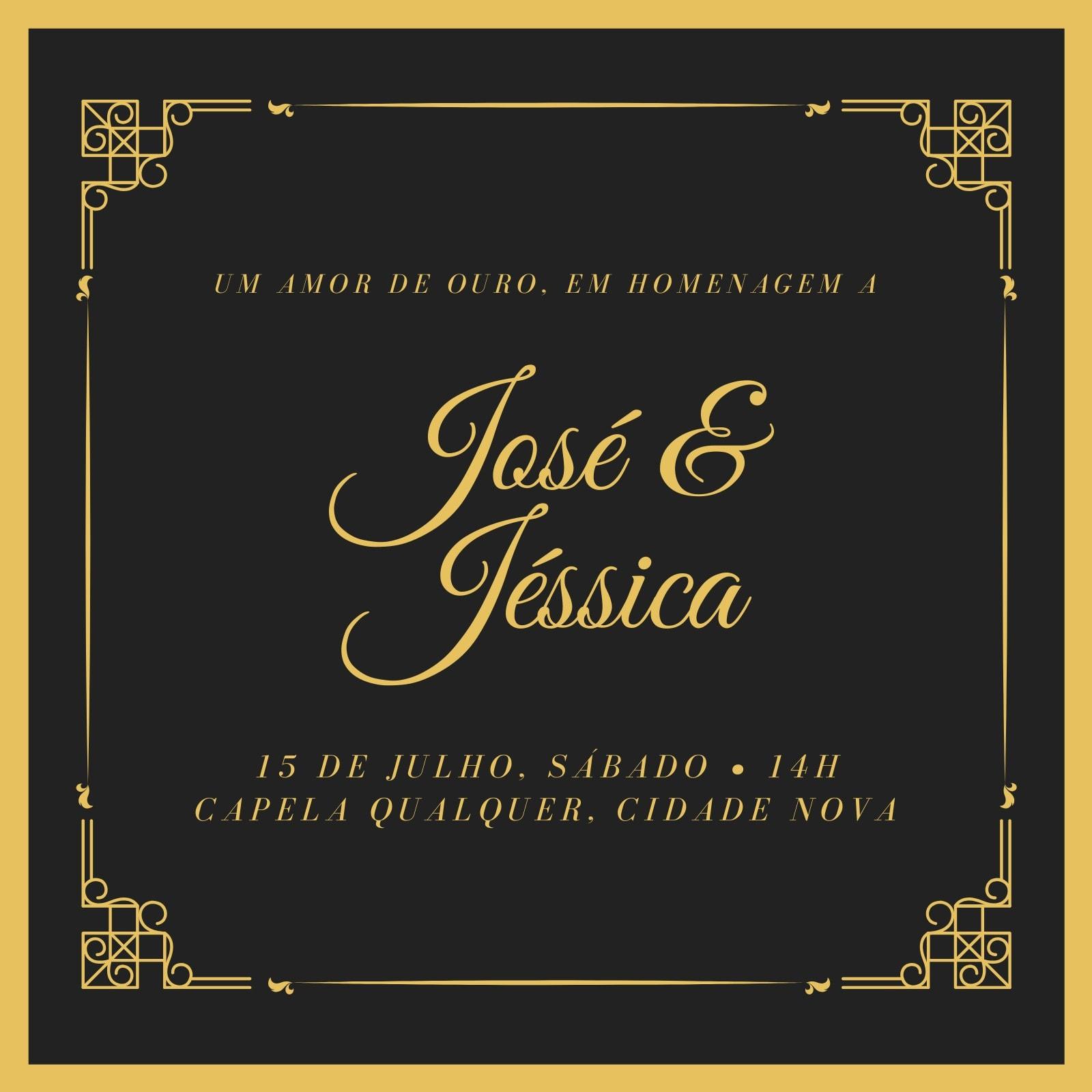 Preto e Dourado Elegante Casamento Dourado Convite