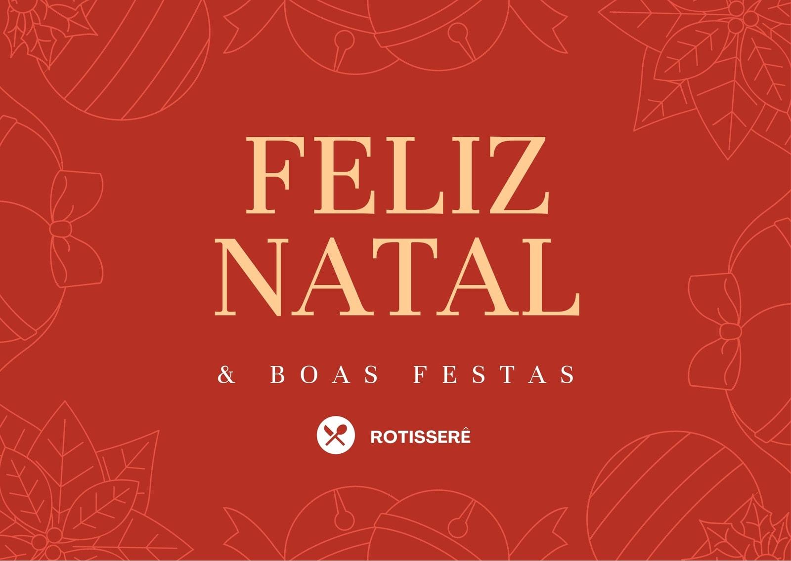 Cartão Vermelho e Dourado de Feliz Natal e Boas Festas