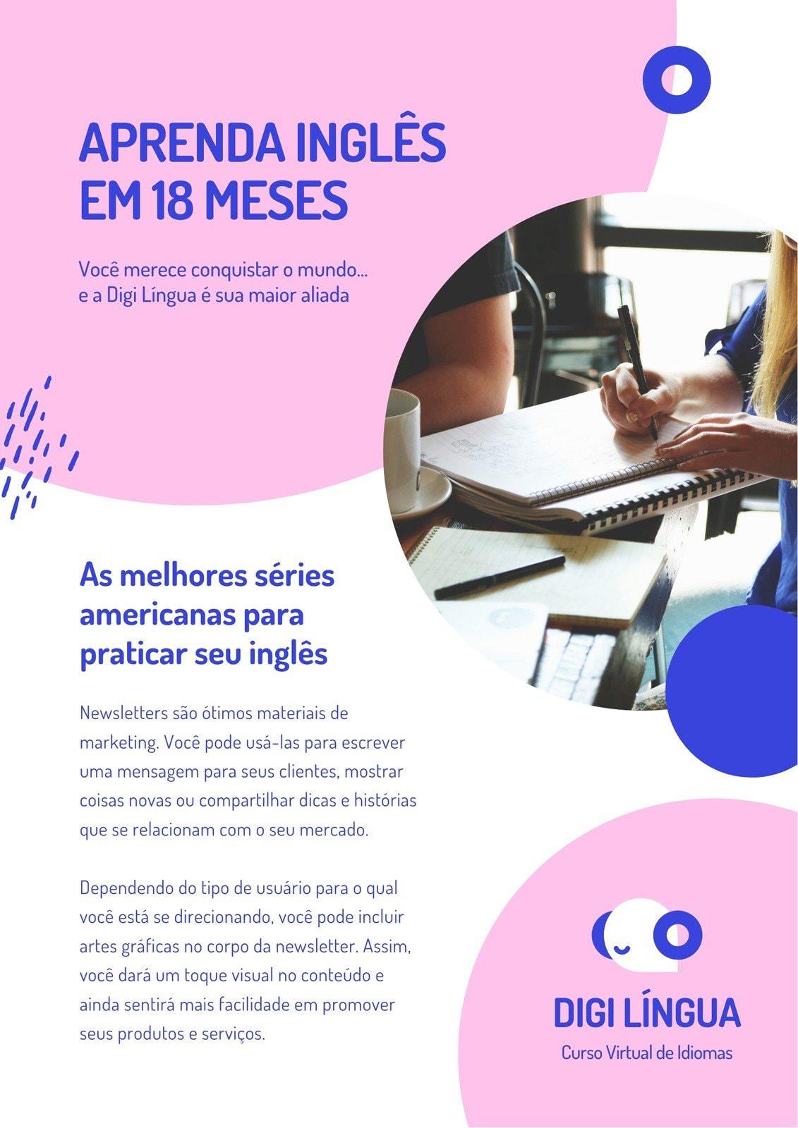 Newsletter Rosa e Azul de Curso de Idiomas