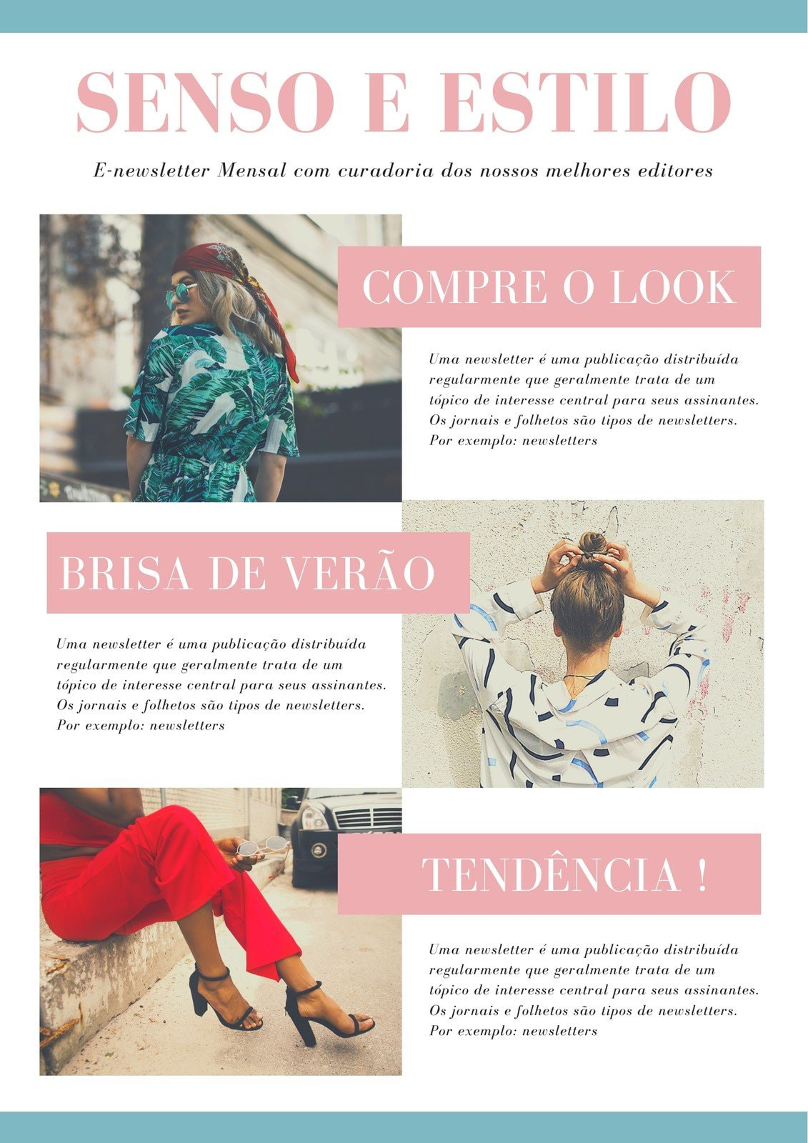 Rosa e Azul Claro Com Borda E-mail Newsletter