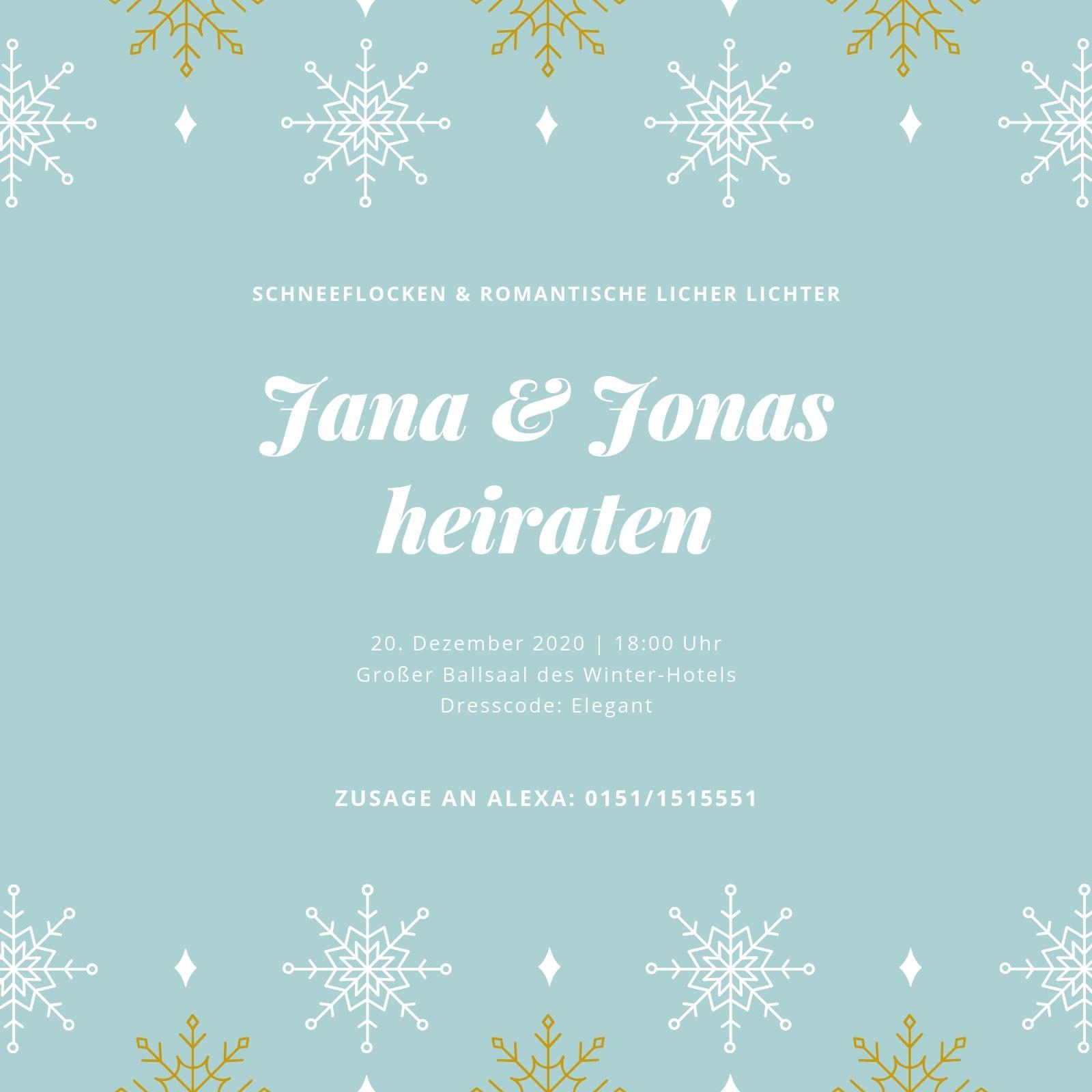 Hellblau Glitzer Winter Hochzeit Einladung