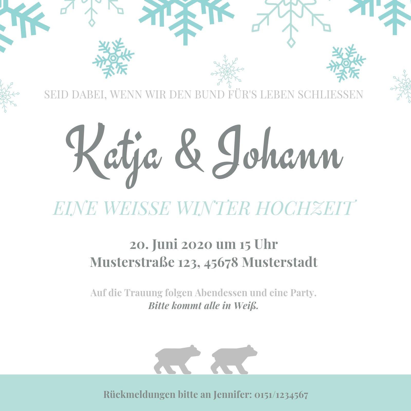 Blau Schneeflocken Winter Hochzeit Einladung