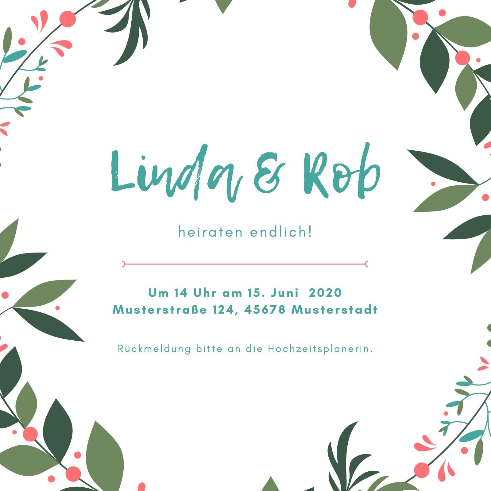 Aquamarin und Pfirsichfarben Blätter Garten Hochzeit Einladung