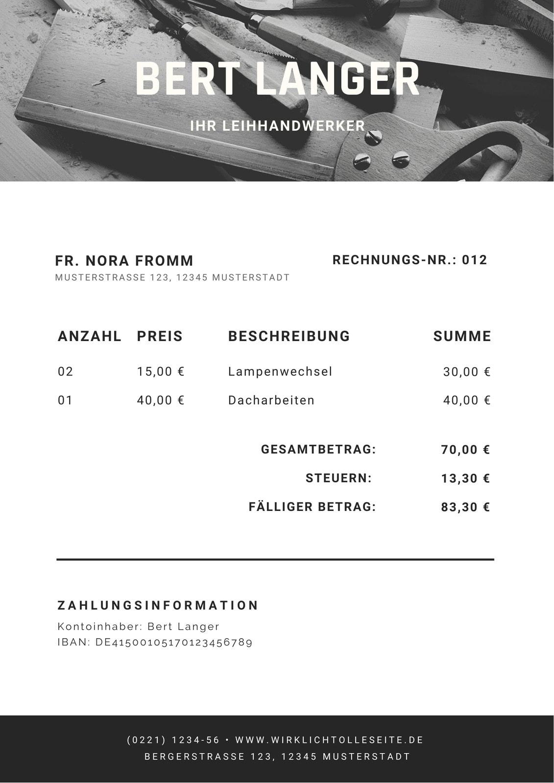 Modern Schwarz und Weiß Foto Dienstleistung Rechnung